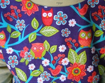 Flannel Shirt Protector Adult Bib reversible Owls extra long