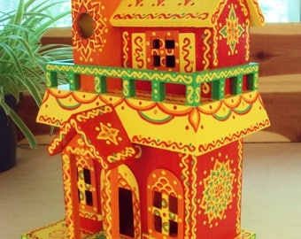 Hand Painted Birdhouse Decorative Two Story w Balcony Red Orange Yellow Green Floral Like Designs Doodles and Dots Whimsical