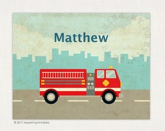 Fire truck Nursery Decor – Vintage Fire truck Art Printable, Nursery Art, Nursery Decor, Personalized Nursery Wall Decor