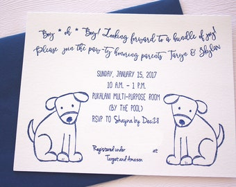 Baby Shower Letterpress Invitations Playful Puppies