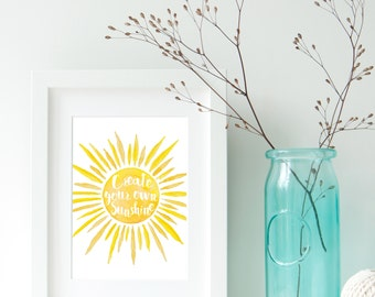 "PRINTED - Create Your Own Sunshine Watercolor Sun Coastal Beach House Decor Typography Wall Art Print (8"" x 10"") by Palmetto Greetings"
