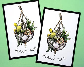 Plant Mom/Dad Succulent Planter Tattoo Flash Botanical Print by Michelle Kent