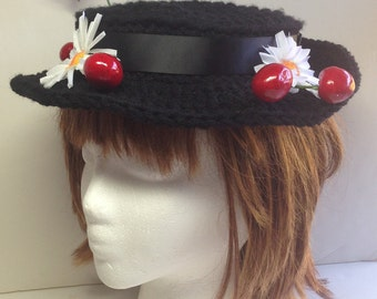 Crocheted Hat Inspired by Ms Poppins, Costume Hat, Black Boater Style, Cherries and Daisies, Halloween Costume Poppins Nanny Hat