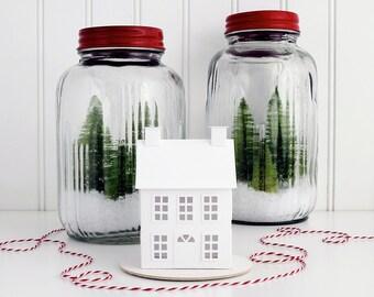 Putz House Ornament DIY Kit Americana Prim Glitter House Christmas Decoration DIY Putz House Paper Craft Kit Winter Décor