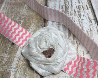 White Fabric Rosette Headband, Baby Headband Photo Prop, Pink and White Chevron Headband