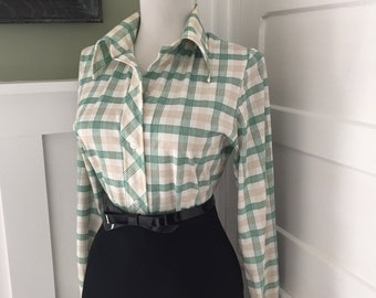 VINTAGE 1950s 1960s Atomic PSYCHEDELIC Plaid Print Button Down Long Sleeve Blouse