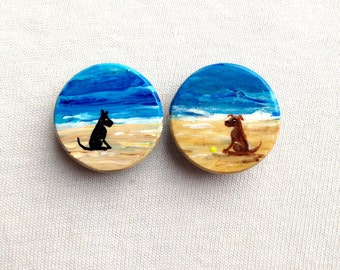 DOGS on BEACH magnets hand painted black dog brown dog chocolate lab
