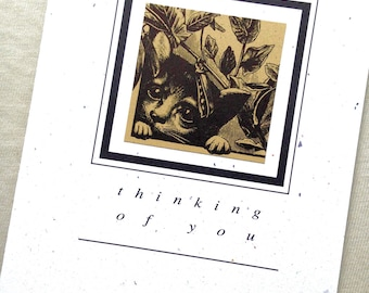 THINKING OF YOU cat greeting card blank inside recycled paper woodcut