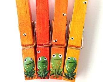 FROG CLOTHESPINS hand painted magnets orange