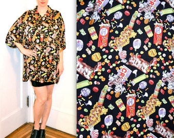 15% OFF SALE 90s Vintage Nicole Miller Silk Shirt with Candy Junk food Print Size Medium Large XL