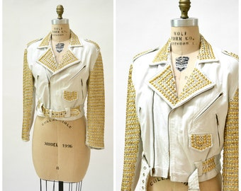 Vintage White Leather Biker Jacket with Rhinestones Gold Studs Size Medium// Metallic Studded White Leather Moto Jacket by Xpose A18