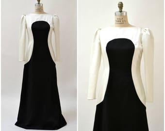 70s Vintage Evening Gown Dress Black and White Cream by Estevez Large// Black and White Color Block Evening Gown Long Sleeve Long Dress