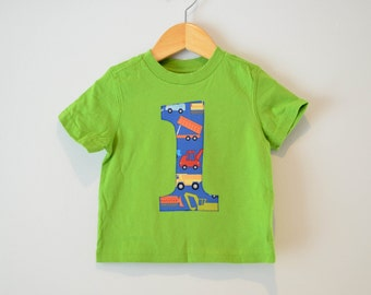 Boys 1st Birthday Shirt, Ready to Ship, Construction Vehicles, Dump Truck, Lime Green Short Sleeve Tee, Size 18m, Green and Blue, Number 1