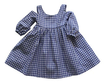 Girl's Blue Gingham Dress// Tabitha Dress// Flower Girl Dress// Girls Summer Clothing// Farmgirl Dress// Cotton Handmade Dress