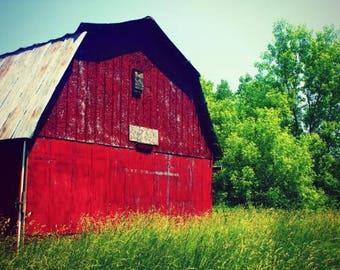 Red Barn Photography Art - Digital Download - Printable Art Gift - Rustic Red Barn Photographic Art Print - Farm Decor Red Barn