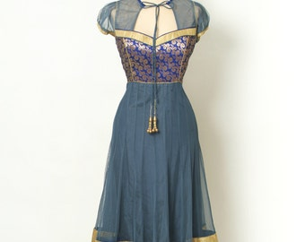 Bollywood fashion /Vintage Dress / Fitted / Sexy / Party dress / indian dress / Salwar Kameez Bollywood /indian clothes / blue dress