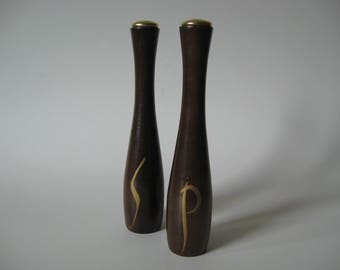 Amazing mid century vintage shapely wood salt and pepper gold accents
