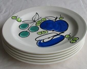 5 Salad Plates in the Vera Neumann Salad Days Pattern – 8.5 inches - Vera Neumann Ladybug Back Mark – Hand Painted – Underglaze - 966 DK7F