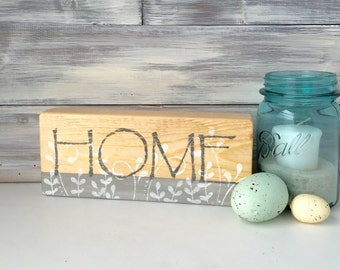 HOME sign, wood block, reclaimed wood, one of a kind, hand made home decor, gray white