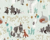 Treetop Party in Mint  518 - FOXTAIL FOREST  by Rae Ritchie - Dear Stella Design Fabric - By the Yard