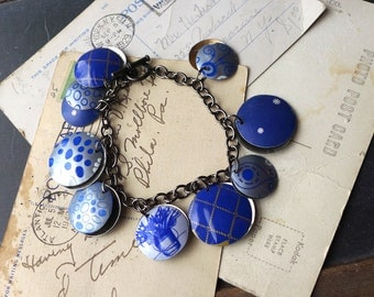 Blue Tin Charm Bracelet, Mixed Blue Tin, Blue Jean Jewelry, 10th Anniversary