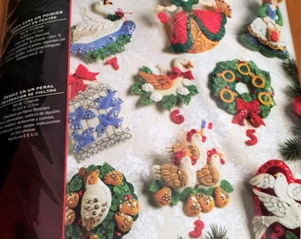 Bucilla Felt 12 Days of Christmas Partridge in a Pear Tree Jeweled Holiday Ornament Kit Christmas Craft diy Ornies 2008