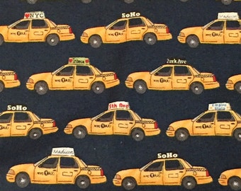 Fabric NYC Taxi Cabs Yellow Retro New York City Soho Park Ave Empire State Quilting Cotton Makower UK Henley by Half Yard