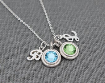 Reserved for Sammi -- Personalized Initial Necklace, Birthstone Jewelry for Mom, Personalized Gift, Grandma Necklace