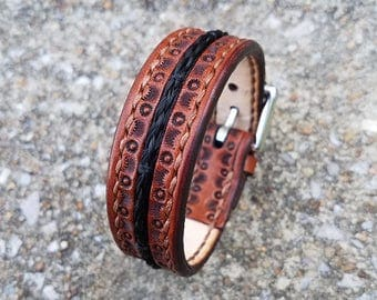 "Horse Hair Leather Bracelet with Brass Buckle - 3/4"" Horsehair Cuff"