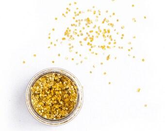 1oz (5g) Gold Squares, Metallic, Vegan, Gluten-Free, Edible Sprinkles, Squares