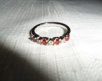 Vintage Red Sapphire and Diamond Ring Size 6