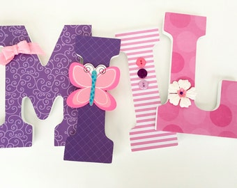 Baby Nursery Wall Letters - Pink and Purple Butterfly Decorations for Girls Room - Custom Wood Letter Set