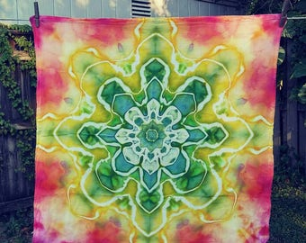Mandala - Ice Dyed Flour Sack Towel - Please Read Item Details Before Buying