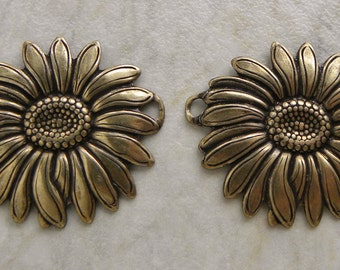 Sunflower 2 Ring Connector Charms, Antique Gold, Quality Trinity Brass 31 x 36mm, Great for Focal Bracelets, 2 Pcs.