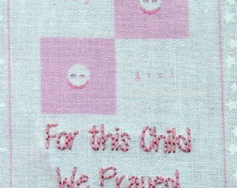 Baby Quilt Label - Pink Smiling Faces, Custom Made & Hand Embroidered