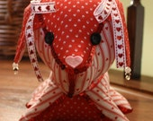 Decorated Stuffed Dog in Red and White Heart Fabric with Red Sequin Trim
