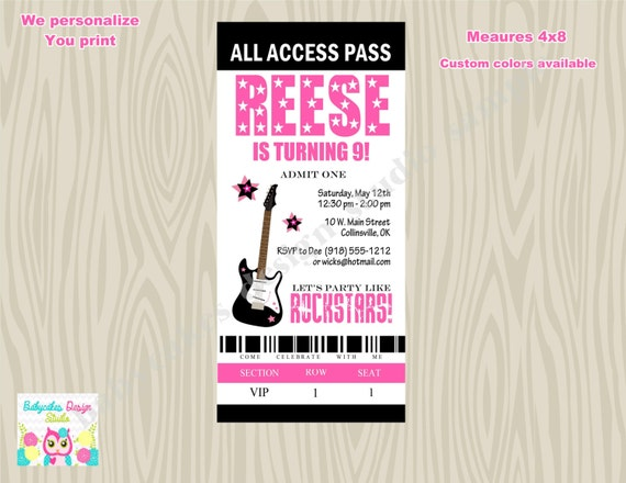 Rockstar Birthday Invitation Ticket Style invitation Backstage Pass - DIY Print Your Own - Matching Party printables available.