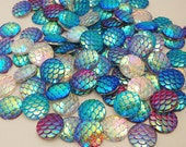 Mix Colors AB Coated Round Resin Cabochons, Mermaid Fish Scale , Rainbow Iridescent , Faux, 12mm.