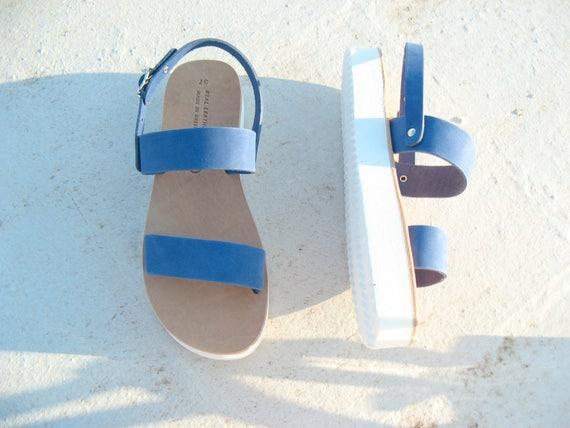 SALE Women's leather sandals blue flatforms size 37 sandales compensees 37 bleu