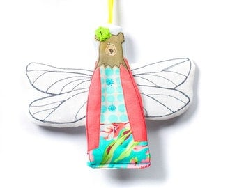 Hanging Angel , mama bear , bear doll , woodland nursery , Animal Wall Decor , Hipster bear , angel ornament , forest animal ,Plush Ornament