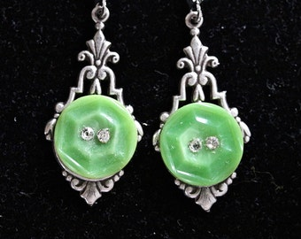 Vintage Glass Button Earrings, Silver Filigree Assemblage, Lime Green Rhinestone Recycled, Pierced, Jennifer Jones, OOAK - Key Lime Spritzer