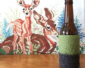 Felted Bottle Cozy - Color Block Collection - Green & Brown