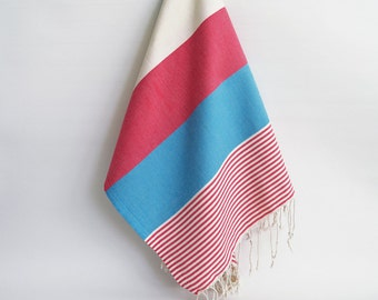 SALE 50 OFF/ BathStyle / Blue-Pink / Turkish Beach Bath Towel / Wedding Gift, Spa, Swim, Pool Towels and Pareo