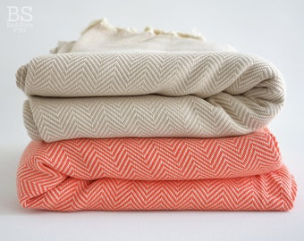 NEW / SALE 30 OFF/ Herringbone Blanket / Coral-Beige / Double Size / Bedcover, Beach blanket, Sofa throw, Traditional, Tablecloth