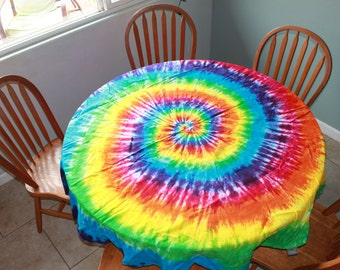 """Tie Dye Round Tablecloth 