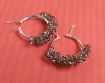 Gray & Sterling Silver Hoops With Polished Smoky Quartz Gemstone Clusters