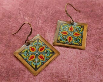 Red & Turquoise Tiles on Gold Plated Brass Earrings, Spanish, Mexican, Catalina and Mediterranean Tile Inspired