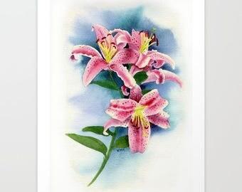 Stargazer lilies Giclée Print, Lily Giclée, Home Decor, Watercolor Giclée, Wall decor