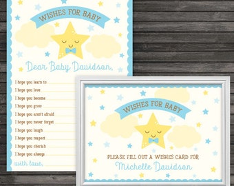 Twinkle Twinkle Little Star Baby Shower Wishes for Baby Boy Card Printable - Boy Baby Shower Well Wishes For Baby Cards - Blue Baby Shower