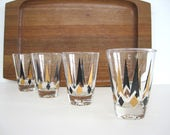 Vintage Juice Glass Set Small Cocktail Glasses Gold Black Diamond Arrow 4 oz  Double Shot Barware Mid Century Atomic Weighted Bottom